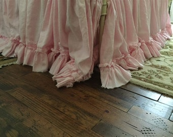 Washed Linen Bedding-Petal Pink Ruffled Bedding-Torn Ruffle Bed Skirt and Standard Pillow Shams-Shabby Ruffled Bedding in Baby Pink