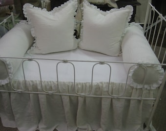 Bolsters Only-Washed Linen Crib Bedding----Non-Traditional Nursery Bedding Pieces- Pair of Ruffled Bolster Slipcovers and Inserts