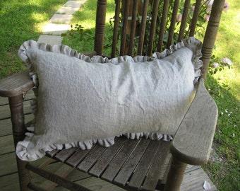One Inch  Ruffled 16x26 Washed Linen Pillow Sham- Zip Closure- Decorative Sham- Wedding Gift- Housewarming Gift-Classic Bedding Linens