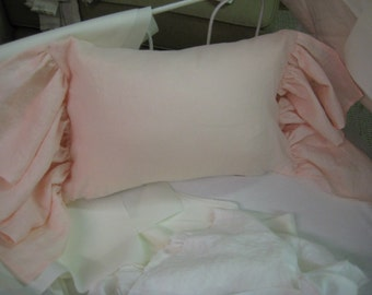 Crib Pillow Sham with Long Ruffled Ends-Zip Closure-Perfect for Monogramming-Ballet Pink