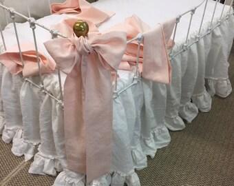 Bumperless Baby Girl Bedding--Washed Linen Nursery---Vintage White Double Ruffle Crib Skirt-Pale Pink Velvet Ribbon Detail-6 Crib Sashes
