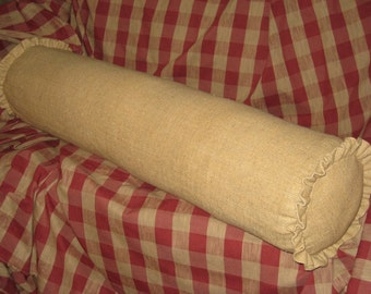 Bolster Pillow-Decorator Burlap Fabric with Matching 1 Inch Ruffled Ends-Zip Closure-Removable Faux Down Bolster Insert