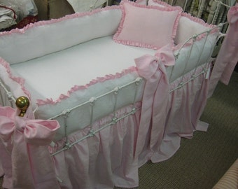 Washed Linen Crib Bedding-Bright White and Petal Ruffled Bumpers-Petal Storybook Crib Skirt-Over Sized Sashes-Crib Pillow