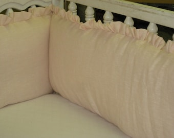 """Crib Bumper with 1"""" Ruffle in Washed Linen-Other Linen Colors Available-Made to Order Crib Bumper Separates-Removable Bumper Pad Inserts"""