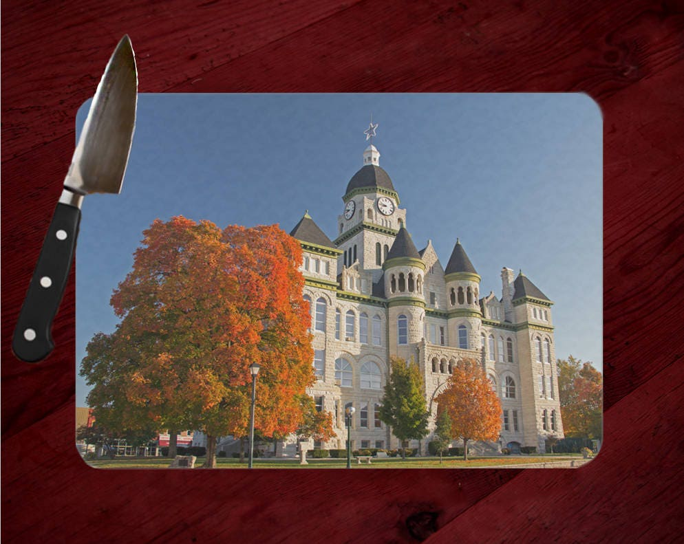 Jasper County Courthouse Photo Tempered Glass Cutting Board, Carthage  Missouri, Hot Pad, Trivet, Cheese Serving Tray, Route 66, Historic