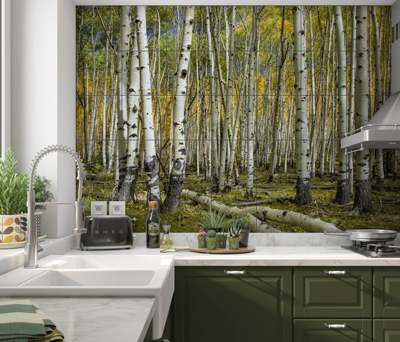 Colorado Aspen Ceramic Tile Mural Kitchen Backsplash Fall Etsy
