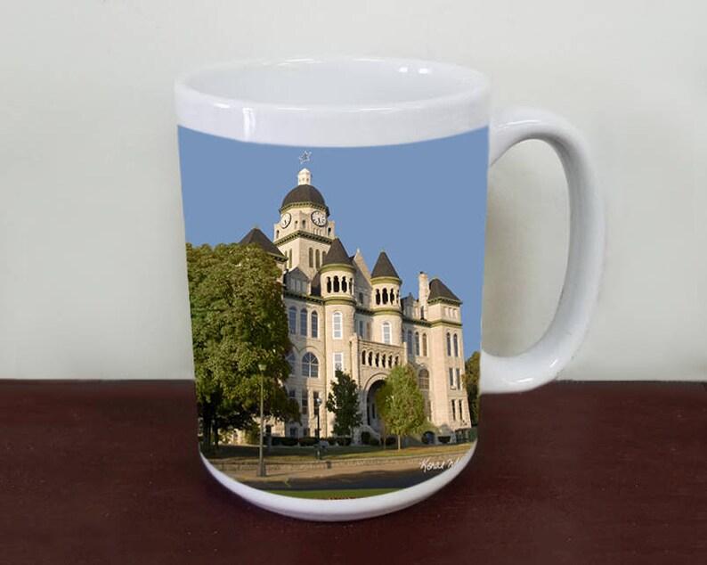 Jasper County Courthouse Photo Mug, Summer Photograph, Tea Mug, 15 oz & 11  0z Sizes, Carthage, Route 66 Art, Missouri Art