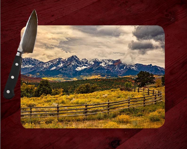 Landscape Cutting Board Colorado Cutting Board Custom Cutting Board with Colorado/'s Sneffels Mountain Range /& Fence Tellurid