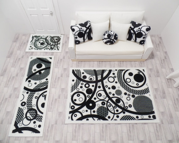 Black And White Circle Rugs Set Of 3 Dollhouse Modern Miniatures 1 12 Scale Door Mat Floor Runner Area Rug Soft Velvet With Backing