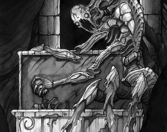 Bone eater - Ink drawing