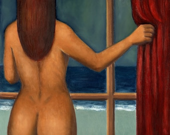 Woman at the window - Oil painting