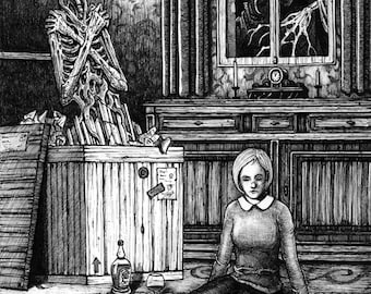 The Crate - Ink drawing