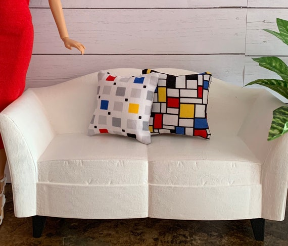 Color Blocks - SOFA PILLOWS for Playscale One Sixth Scale House Diorama  Mid-century Modern/ Barbie, Blythe, Momoko,fashion Royalty