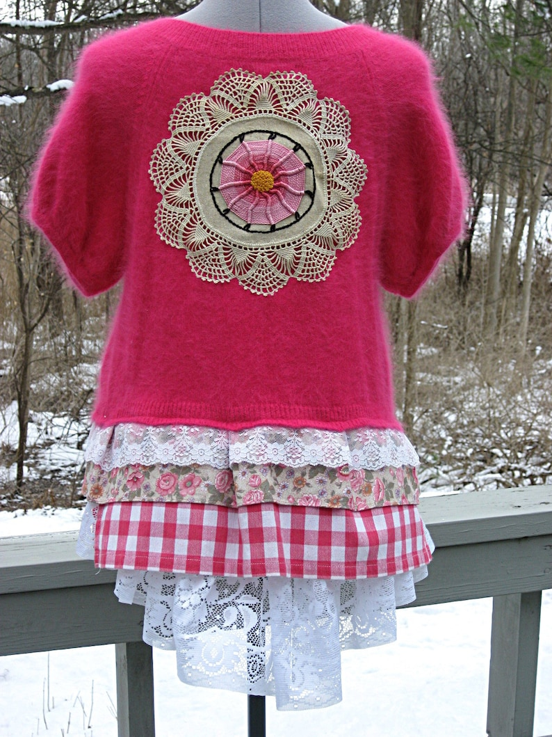 Easter sweater Hot pink  fuschia upcycled angora cardigan sweater size small-medium by Lily Whitepad spring sweater