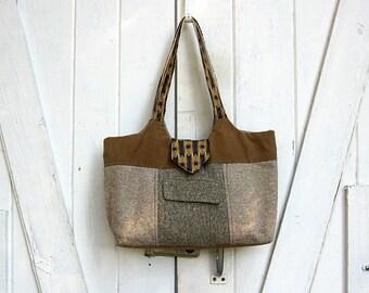 HALF OFF! Big tote bag, brown wool tote bag, recycled wool tote bag, upcycled men's suit coat tote bag by Lily Whitepad