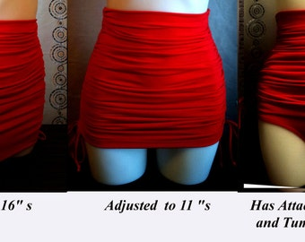 59b8045d58 Plus Size Tummy Control Bottoms with Adjustable length skirt in Red