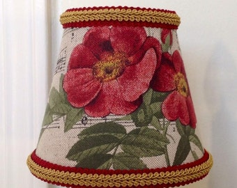 Chandelier shade or a sconce shade in a fabulous fabric with birds, flowers and music