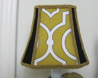 Chandelier Lamp Shade in a Bell Shape Shade in Yellow Mustard patterned Fabric trimmed in Black