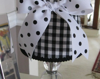 Chandelier Lamp Shade in Black and White Gingham Check with White and Black Dot Bow