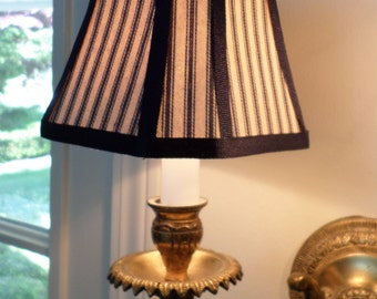 French Country or Country Chandelier Shade in a Blue Pillow Ticking Fabric