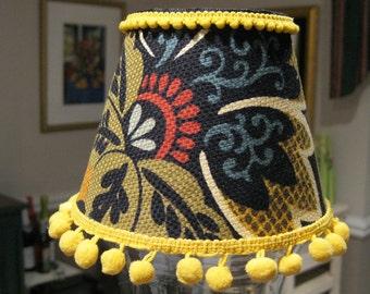 Chandelier Lamp Shade in Aztec Floral Pattern trimmed In Pom Pom