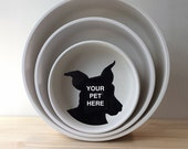 Pet Bowl / custom personalized dog cat food bowl / handmade pet portrait from photo of your pet / modern ceramics / pick your size