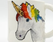 Unicorn Mug with Gold horn| handmade hand-built | coffee mug tea cup | in rainbow | original design mythical animal rainbow dash | in stock