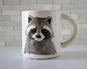 Raccoon Mug | woodland animal coffee mug tea cup | gray black white | original handmade hipster mug | in stock | featured on Etsy Blog