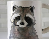 Raccoon Mug | woodland animal coffee mug tea cup | gray black white | original handmade hipster mug | in stock