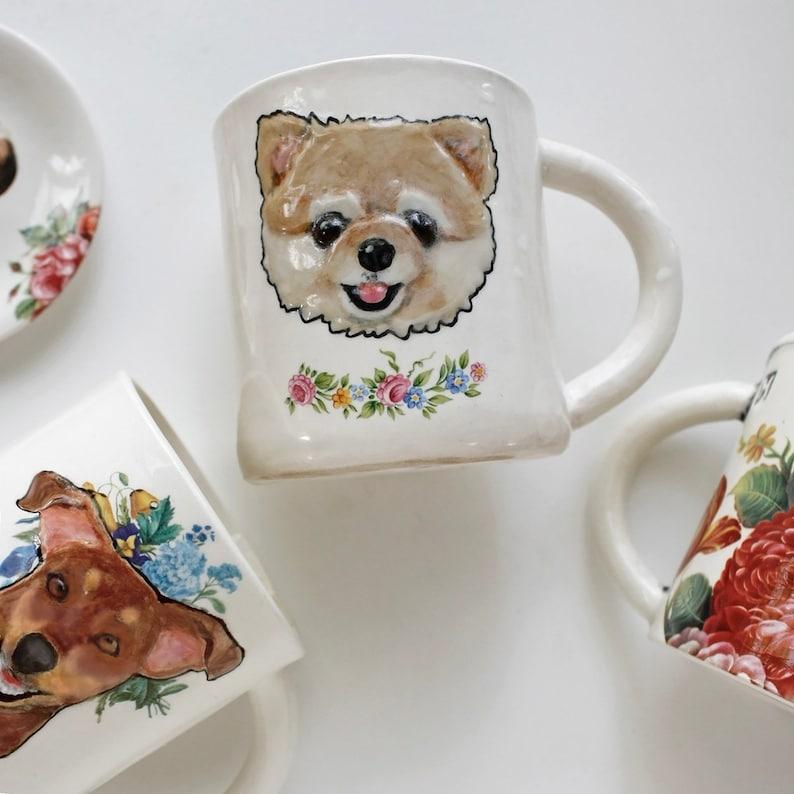 from your photos modern pet memorial keepsake Custom Pet Portrait with floral vine personalized dog cat pet coffee mug tea cup