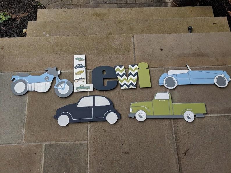 Custom Boys Vintage Style Car Wall Decor Set - Boys Vintage Car Decor -  Custom Boys Name Sign and Vintage Car Decor Set