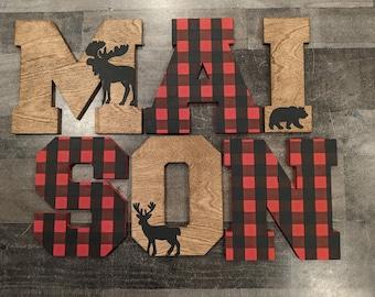 Buffalo Plaid Letter Name Sign - Custom Boy Woodland Animal - Name Sign Buffalo Plaid and Stained Hanging Block Letters - Woodland Nursery