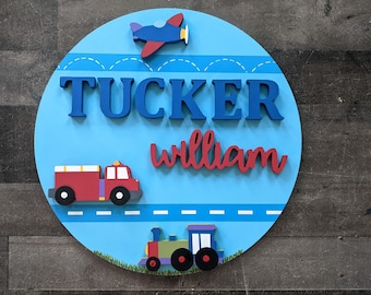 Boys Transportation Name Sign - Circle Sign - Wood Circle Name Sign with Airplane - Fire Engine - Train - Boys Transportation Circle Sign