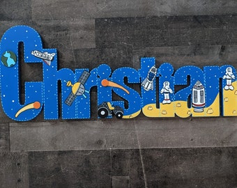 Custom Hand Painted Boys Space themed Name Sign - Rocket Ship Boys Name Sign - Space Decor - Nursery Wall Name Sign - Wood Letters Boy Style