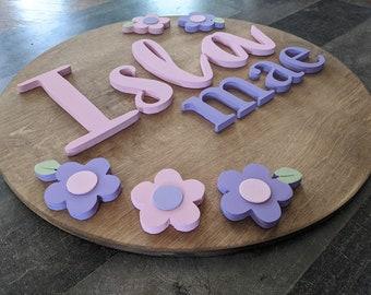 Custom Girls Flower Circle Sign - Girls Flower Circle Name Sign - Flower Wood Circle Name Sign - Flower Nursery Name Sign - Girls Circle