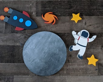 Kids Ready To Ship Space Decor - Astronaut Rocket Ship Kids Wall Decor - Kids Wood Wall Space Decor - Kids Ready To Ship Astronaut Space Set
