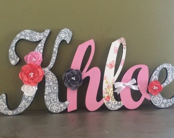 Custom Kids Name Sign - Nursery Wall Letters Name Sign - Wood Wall Letters - Cursive Style  Name Sign - Hand Painted Girls Name Sign