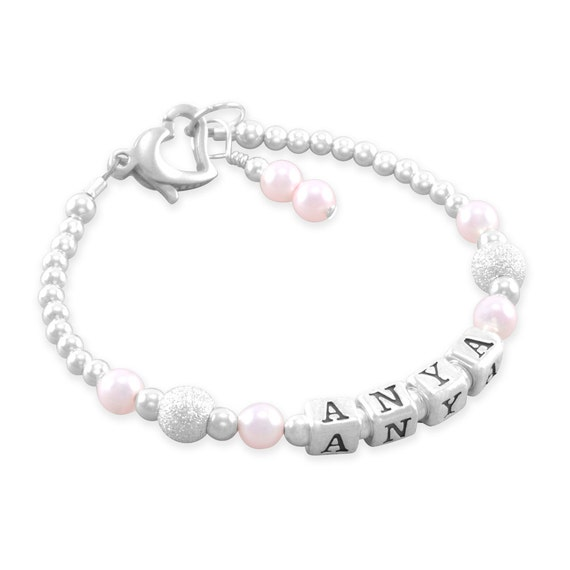 Baby Girl Gift O Infant Name Bracelet Sterling Silver First Birthday Gifts For Girls Personalized Jewelry Shower Present ANYA