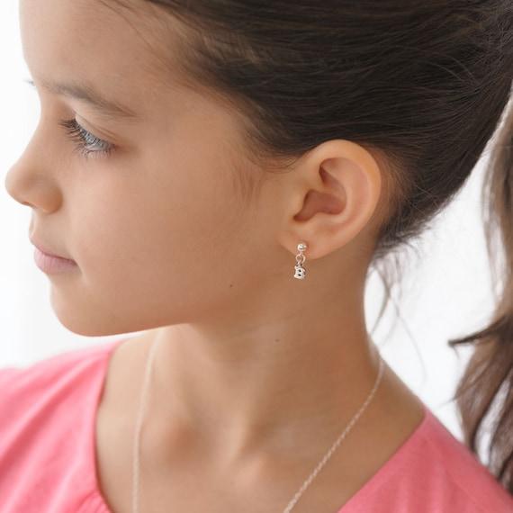 Initial Earrings Little Girls post Sterling Silver letters ...
