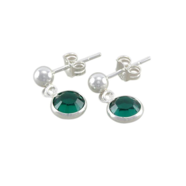 55c93dcde Emerald Earrings For Little Girls Green Sterling Silver | Etsy