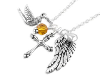 Dove Necklace Sterling Silver • Cross • Wing • Memorial Jewelry • Sympathy Gift Ideas • Personalized Birthstone • Loss of Grandmother DOVE