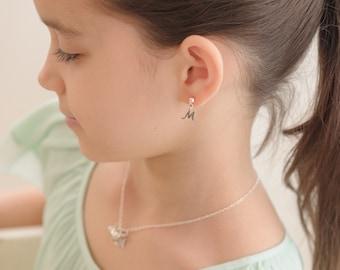 Initial Earrings • Little Girls Dangles • Sterling Silver • Letters • Birthday Present for Girl • Niece • Granddaughter • sister • REINSLEY