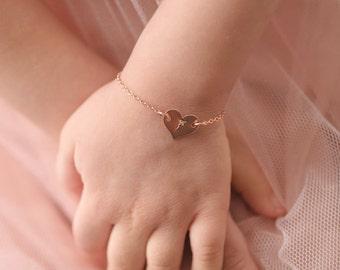 Rose Gold Heart Bracelet • Initial • Birthday Gift for Daughter • Toddler Girl • For Niece • For Granddaughter • Present for Sisters • FLORA