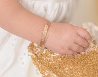 1st Birthday Gift • Gold Baby ID Bracelet • Name • 14k Yellow Gold • Rose Gold • Birthstone • Keepsake for Granddaughter • Niece KATE