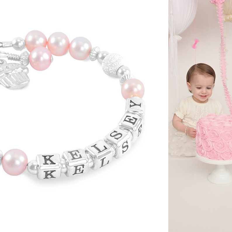 Baby Name Bracelet O First 1st Birthday Gift For Girl Pink Pearls Cupcake Party Present Granddaughter Toddler KELSEY