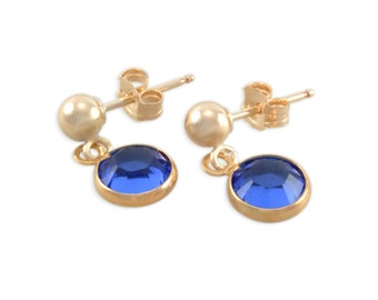 Gold Post Birthstone Earrings, first dangles, for niece, sapphire, birthday jewelry, studs, kids earrings, ball posts, present gift, SOPHIE