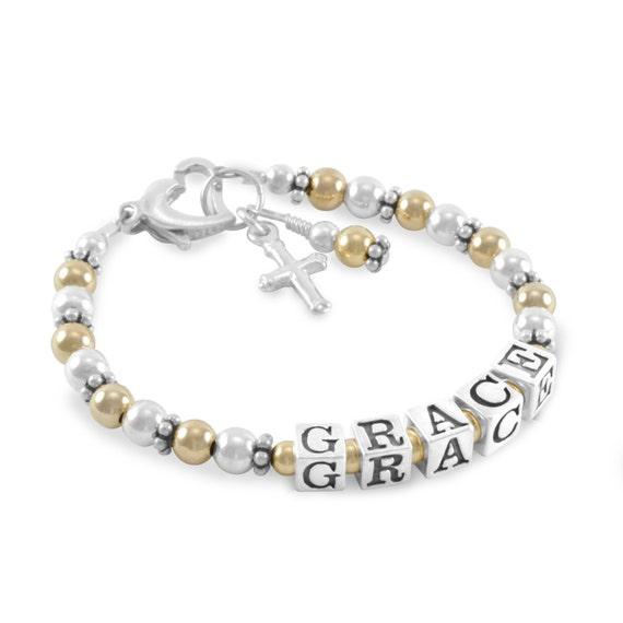 Baby Taufe Armband Gold Und Silber Namen Armband Kreuz Charm Personifiziert Mädchen Schmuck Taufe Nichte Erste Kommunion Grace