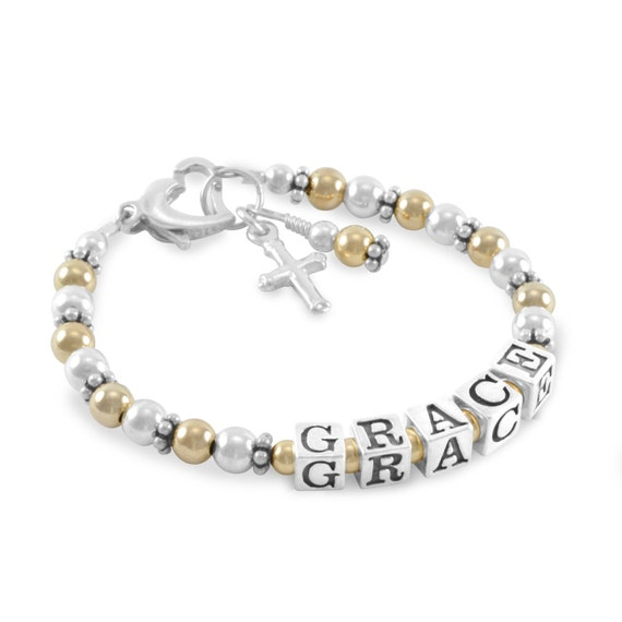 Baby Baptism Bracelet Gold And Silver Name Bracelet Etsy