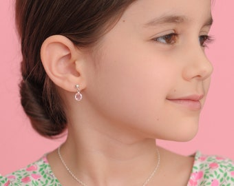 Birthstone Earrings • Little Girls Dangle • Sterling Silver • Pink • Birthday Jewelry • Small • October • Present for Girl • For Daughter