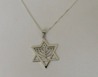 Sterling Silver Menorah Star of David Pendant Necklace, Hanukkah Menorah Pendant Necklace, Judaica Star of David, All Chain Lengths